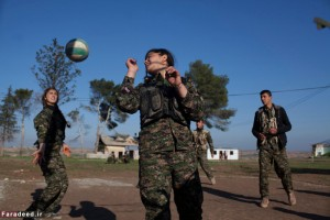 Young YPJ and YPG enjoy some recreational time between drills at the sniper training center in Saemalka, Al Hasakah, Syria on Dec. 21, 2014.