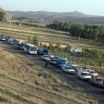 راه بندان طولانی در جاده تبریز- آذرشهر به دلیل واژگونی کامیون خاور