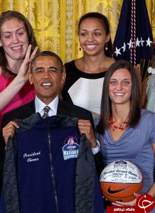 University of Connecticut Huskies basketball center Stefanie Dolson, top left, give the 'bunny ears' to President Barack Obama as he poses for photo with the team during a ceremony in the East Room of the White House in Washington, Wednesday, July 31, 2013, where the president honored their 2013 NCAA Womenís Basketball Championship win. Also seen, from top left, Breanna Stewart, Kiah Stokes, bottom left, Caroline Doty, Kaleena Mosqueda-Lewis and Kelly Faris. (AP Photo/Carolyn Kaster)